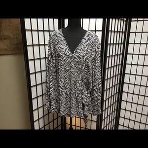 Talbots black & white wrap-around blouse